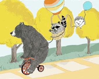 Kids Room Decor - BearArt. Hedgehog Art. Raccoon Art. Bear Raccoon and Hedgehog.  Three Best Friends Animal Decor.  Animal Wall Art
