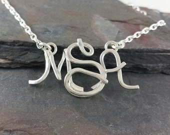 Smaller Sterling Silver Monogram Necklace, Choose Your Font