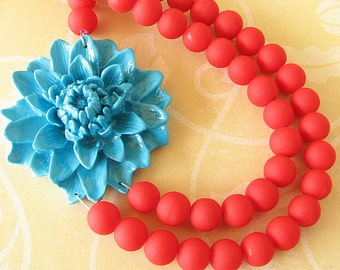 Red Statement Necklace Beaded Jewelry Turquoise Jewelry Red Necklace Flower Necklace