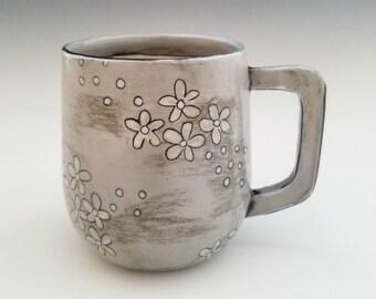 Handmade Ceramic Mug, Porcelain Mug, Blossom Flower Pottery Cup 12 oz mug