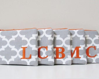 Monogram Make up bag - Set of 5 - in Quatrefoil -  Cosmetic Bag - Personalized Make up Bag - Bridesmaid bags - Make up Organizer - Small