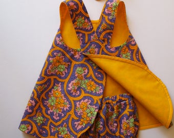 Reversible, Baby Pinafore, Matching Bloomers and Headband, Retro Purple, Fall Dress, Baby Outfit, size 6 motn