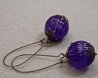 Vintage German Lucite Deep Amethyst Purple Large Bead Ribbed Dangle Drop Earrings, Long Antiqued Brass Kidney Wires- FREE GIFT WRAPPING