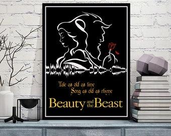Beauty And The Beast - Sound Wave Minimalist Art Print - 5x7 8x10 8x12 11x14 16x20 A3 A4 A5 Sizes