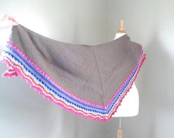 Knit Shawl with Colorful Edging, Bright Print, Acrylic Blend, Prayer Shawl, Mom Sister Grandma