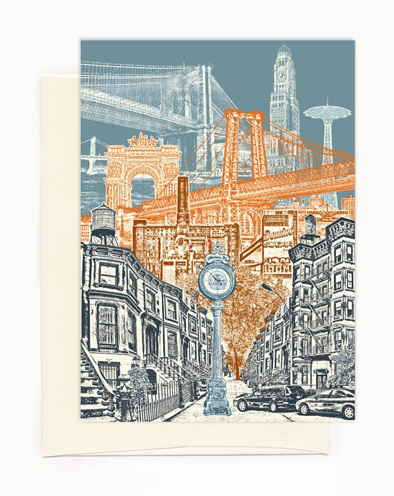 ON SALE!!! -- Layers of Brooklyn Notecard - full color - New York - folded Greeting Card - Single Card or Set of 6