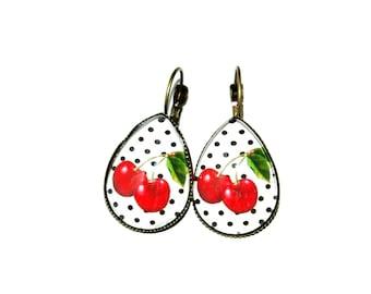 Cherry shape drop earrings