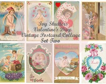 Vintage Valentines Day Postcards Set 2 Digital Printables