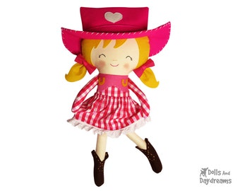 Cowgirl Sewing Pattern PDF DIY Cloth Doll Country Western Toy - includes removable Skirt  Hat & Boots