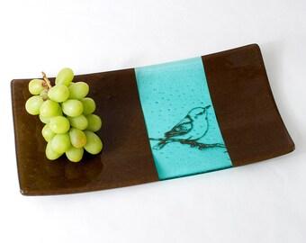 Bird fused glass serving platter