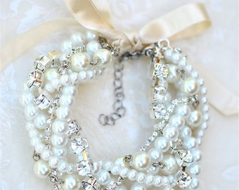 Chunky Pearl and Crystal Bridal Bracelet & Earrings Set w/ Ribbon, Swarovski Crystal Pearl Wedding Jewelry Set, Bridal Bracelet