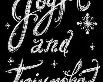 Instant Download Joyful and Triumphant Chalk Art Christmas