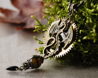 Steampunk Pendant, Steampunk big  Necklace,Mechanical dragon, Antique Jewelry, agate Vienna dragon, Antique bronze, balloon, cosplay