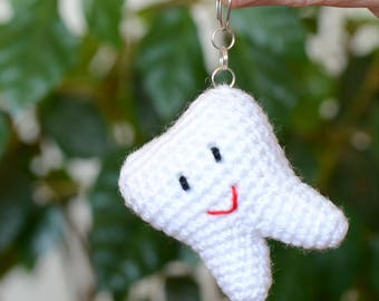 Keychain Tooth, crochet  Tooth,  Tooth keychain, Crochet keyring,  Tooth toy, Amigurumi Tooth, crochet Keychain, Tooth Fairy, baby gift.