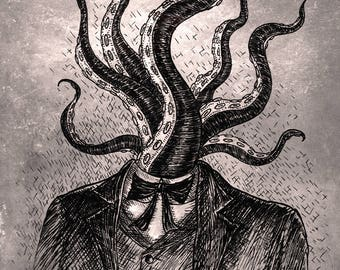 Tentacle Head- A4 art print by Jon Turner- geeky HP Lovecraft pen and ink artwork- Free worldwide shipping