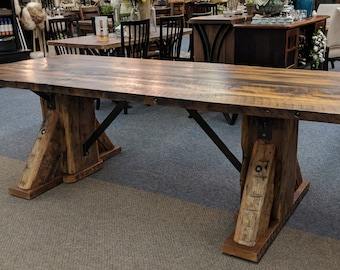 Reclaimed Barn Wood Dining Room Table / Wormy Chestnut Wood