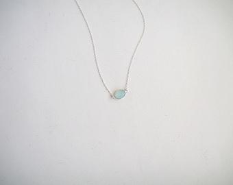 Aqua Green Chalcedony Necklace, Light Mint Chalcedony Necklace, Seafoam Gemstone Necklace, Sterling Silver Necklace, Sea Foam Gemstone