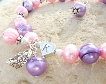 Sterling Heart Initial Bracelet with Freshwater Pearls B027