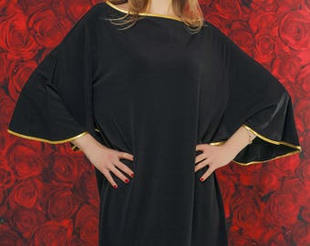 Little black dress, black oversized dress, summer party dress, unique black dress, stylish evening black dress, must have black dress