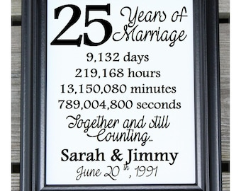 25th Wedding Anniversary Cotton Print | 25th Wedding Gift | 25 Years Together | 25 Years of Marriage | 25th Anniversary | Gift for Wife Her