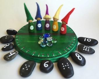Waldorf Math Gnomes Set- four processes peg dolls, wood board, jewels and counting stones, wood, glass, felt, and stone math manipulative