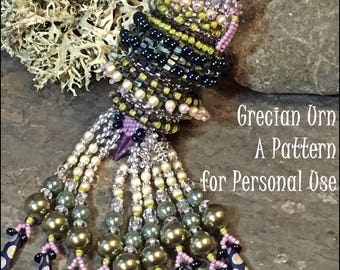 Bead Tutorial Grecian Urn Beaded Pendant with rotating ring peyote & herringbone stitch pattern instructions by Hannah Rosner