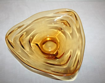 Amber Glass Triangular Shaped Candy Dish