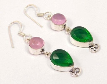 Green Onyx & Pink Chalcedony Silver Plated Earrings  Jewelry