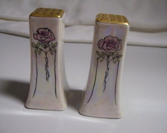 Vintage 20s Hand Painted Pink Roses Lusterware Salt Pepper Set Shakers Gilt Top