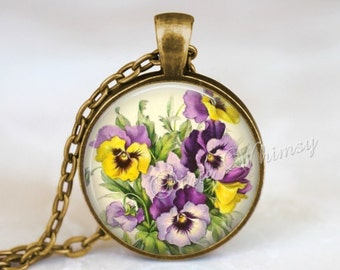 PANSY Necklace, Pansy Pendant, Pansy Jewelry, Pansy Keychain, Flower Necklace, February Birth Month Flower, Pansies, Birthday Flower, Purple