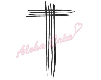 Machine Embroidery Design cross art lines (9 sizes) - Instant Digital Download