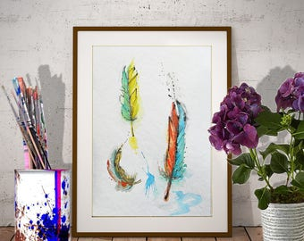 Three feathers ORIGINAL watercolor painting Feather wall art, Room decor aquarelle Original artwork Hand painted feathers Original fine art