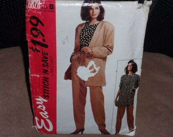 McCall's 6828 Stich'N'Save  Misses' Unlined Jacket, Top in Two Lengths and Pants  Size 14-16-18-20  New- Uncut