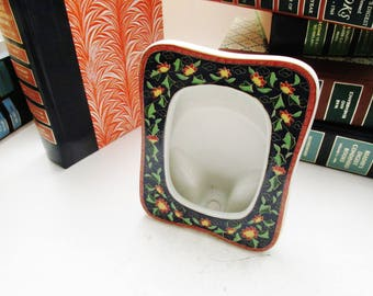 Takahashi 1981 Kashmir Picture Frame, Porcelain Frame, Chinoiserie Decor, Vanity Table Decor, Oriental Floral Frame