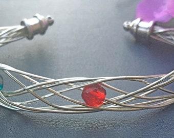 Silver Five Strand Cuff Bracelet