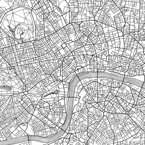 london map street map england uk city map drawing black and