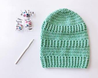 SAWTOOTH SLOUCHY Hat - Heathered Tweed - Winter Slouchy Hat - Slouchy Beanie - minty green Slouchy Hat - Snood - minty green slouchy hat