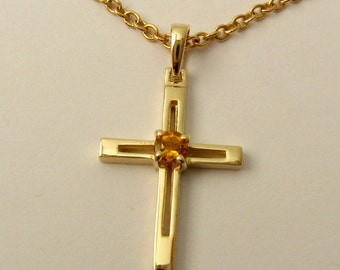 Genuine SOLID 9K 9ct Yellow GOLD Unisex November Birthstone birthday Citrine Cross Pendant