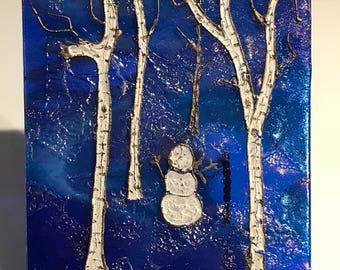 Birch Tree Glass Panel, Fused Glass Birch Panel, Blue Glass Birch Panel, Birch Trees in the Fall,