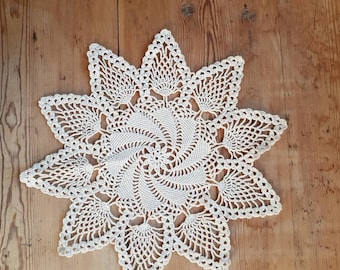 Lovely offwhite crochet  tablecloth/doily in cotton  from Sweden