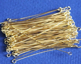 100 pcs of Gold  Plated Brass Eye Pin - 2 inch long - 24 gauge