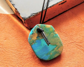 Polymer Clay Slab Raw Stone Raw Cut Pendant Necklace Faux Turquoise