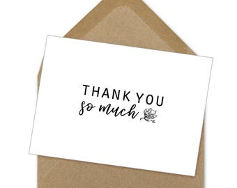 thank you so much simple floral card | A6