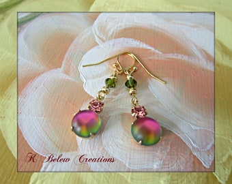 Handmade Jewelry Earrings/Vintage Style Jewelry Earrings/Pink and Green Drop Earrings/Dangle Earrings/Gift For Woman