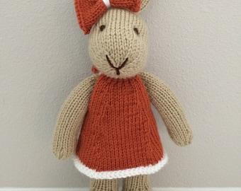 Stuffed Animal - Knitted Bunny Rabbit Stuffed Toy in Dress - Stuffed Bunny - Handmade - Kids Toy - Stuffed Toy - Soft Toy - Bunny - Rabbit