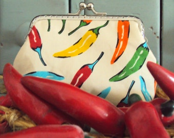 Chilli pepper coin purse, metal frame purse