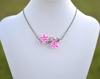 Stargazer Lily Vine Necklace. Stargazer and Pearls Necklace. Vine Lily Necklace.