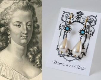Glass Turquoise and Pearl Dangle Earrings, Marie Antoinette Earrings, 18th Century jewelry, Georgian Earrings, Historical Jewelry, Reenactor