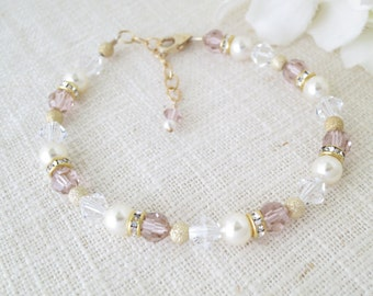 Blush pink wedding, Simple pink crystal bracelet, Swarovski crystal bridal bracelet, Crystal and pearl bracelet, Bridesmaid bracelet