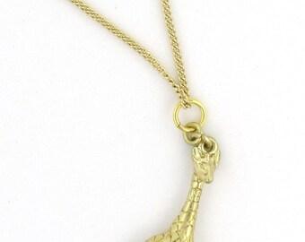Vogelhaus-Schmuck - Gold Giraffe Halskette